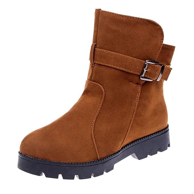 ZODOF Botas de Nieve para Mujer Zapatos Planos para Mujer Botas para la Nieve Botas con Correa de Hebilla de Gamuza Punta Redonda Mantener los Zapatos ...