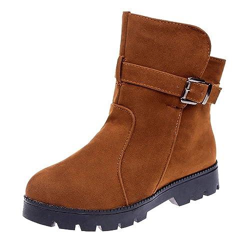 Sencillo Vida Botines Mujer Invierno Botas Piel Medio Ancho Ante Botita Casual Tobillo Ankle Boots Suede Zapatos Marrón Negros: Amazon.es: Zapatos y ...
