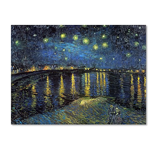 picture of Trademark Fine Art The Starry Night II by Vincent Van Gogh Canvas Artwork, 14 by 18-Inch