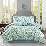 9pc Girls Aqua Blue Green Paisley Pattern Comforter Queen Set, Elegant Scrollwork Motif Flowes Theme Bedding, Vibrant Colors, Rich Bohemian Hippie Indie, French Country Design