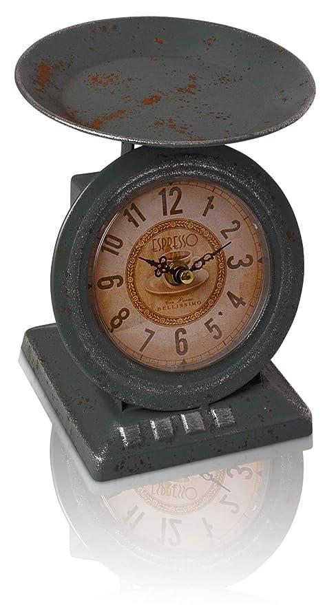 CHICCIE Retro Hierro Reloj como Báscula – Reloj de pie Reloj de Mesa Chimenea Reloj Antiguo