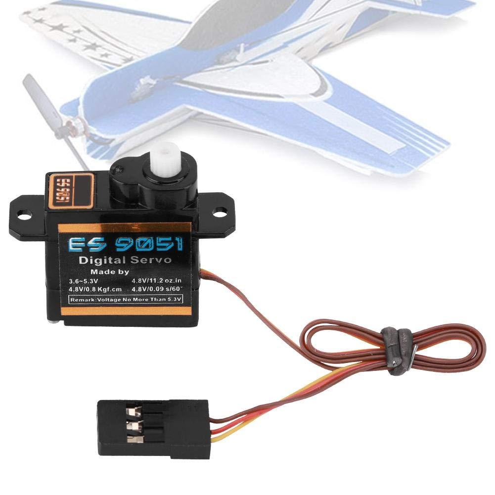 Micro Servo, ES9051 4.3g Digital Micro Servo Engranaje de plástico 0.8 kg Par para 3D F3P RC Avión