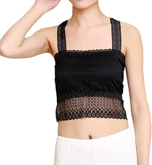 LODAY Women Lace Camisole Bralette Casual V Neck Cami Crop Top Wirefree Bandeau Sleep Bra