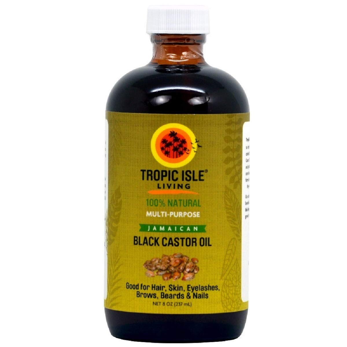Tropic Isle Living Jamaican Black Castor Oil - Glass Bottle, 8 oz. / 237 ml.