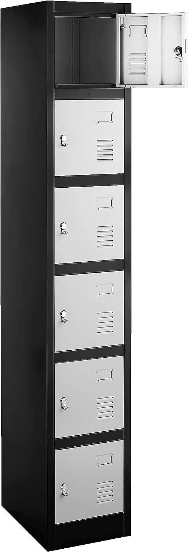 "Locker, 6 Metal Compartments, 71"" High with 17"" Deep Lockers (Black w/Grey Doors)"