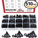 Hilitchi 510-Pcs M3 M4 M5 Alloy Steel Socket Cap Screws Hex Head Bolt Nuts Assortment Kit - 12.9 Grade Alloy Steel (Hex Socket)