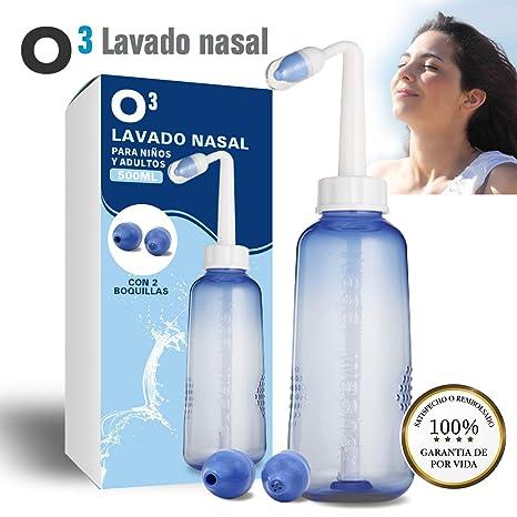 O³ Lavado Nasal 500 ml Con 2 Boquillas Para Bebes Y Adultos Para Irrigación Nasal - Limpiador Nasal | Alivia Alergia - Resfriado - Rinitis | Irrigador ...