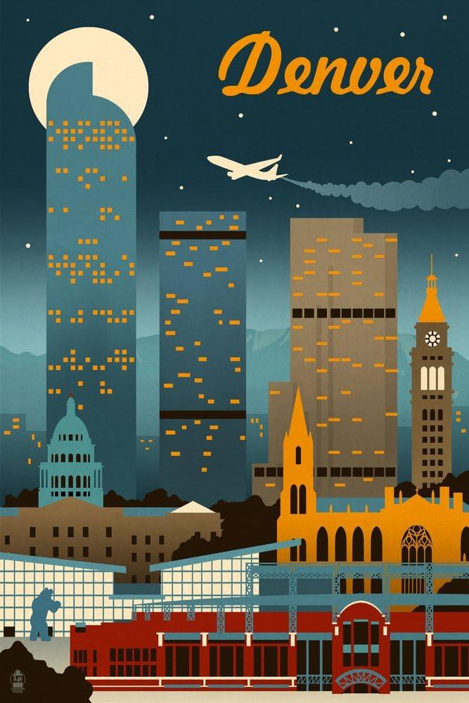 Denver Colorado Retro Skyline 12x18 Art Print Wall Decor Travel Poster Posters Prints