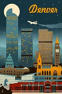 product image for Denver, Colorado - Retro Skyline (16x24 Giclee Gallery Print, Wall Decor Travel Poster)