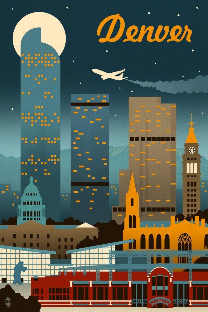 Amazon.com Denver Colorado - Retro Skyline (12x18 Art Print Wall Decor Travel Poster) Posters u0026 Prints & Amazon.com: Denver Colorado - Retro Skyline (12x18 Art Print Wall ...