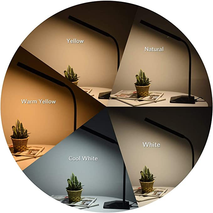 VicTsing Lampara Escritorio 48 LEDs con 25 Modos de Luz, Flexo LED Escritorio con Puerto USB de Carga Rápida, Cuello Flexible 360º, Función de Memoria, Cuidado de Ojos, Control Táctil y Bajo