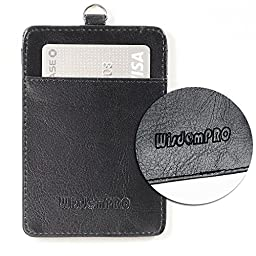 Badge Holder, Wisdompro 2-Sided Vertical PU Leather ID Badge Holder with 1 ID Window and 1 Card Slot and 1 piece 23\
