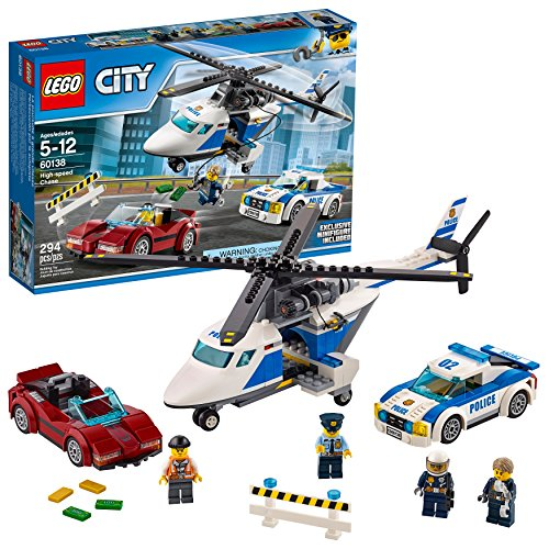 LEGO City Police High-Speed Chase 60138 Building Toy with Cop Car, Police Helicopter, and Getaway Sports Car (294 -