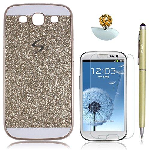 Pheant® [4 in 1] Samsung Galaxy S3 Hülle Glitzer Schutzhülle Schale Handyhülle mit Glas Schutzfolie Eingabestift und Staub Stecker(Gold)