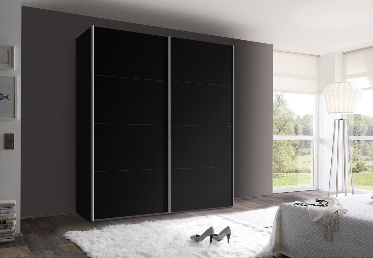 Schwebetürenschrank schwarz  Webesto Schwebetürenschrank, Kleiderschrank, ca. 200 cm, Schwarz ...