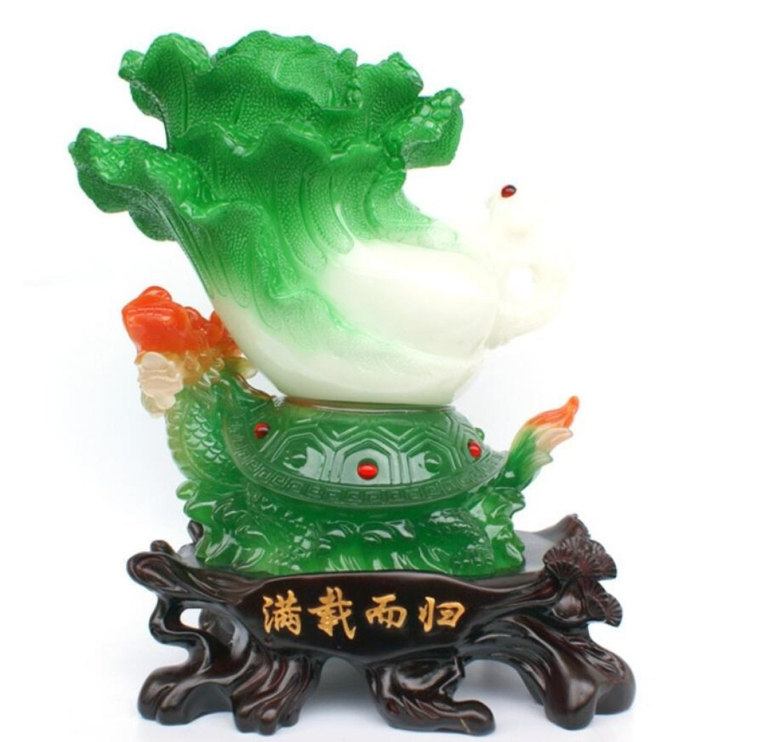 GL&G Chinese cabbage Lucky Crafts Home Decorations large living room office Tabletop Scenes Ornaments Collectible High-end Business gift,281732CM by GAOLIGUO