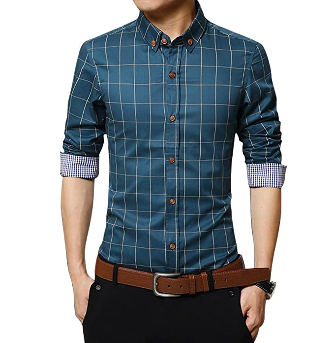 e058dd41a2e Men Pure Cotton Shirt Mercerized Slim Fit Long Sleeve Plaid Business  Checked Casual Dress Turn-Down Collar Button Down Suit British Stylish   Amazon.co.uk  ...