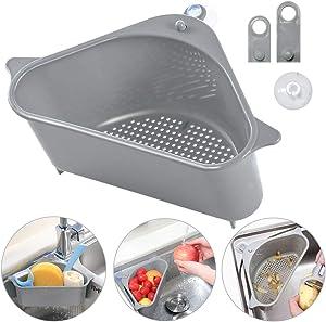 Sink Basket, Eutreec Triangular Multifunctional Drain Shelf Sink Storage Rack Kitchen Sucker Storage Holder Sink Corner Strainer Bathroom Hanging Shelf Soap Box Organizer (Gray)