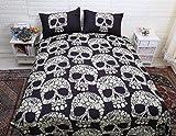 TRUST 100% 3D Skull Bedding sets Polyester Fully Reversible Modern Flower Skull Comforter cover Set, no comforter ,black (Queen)