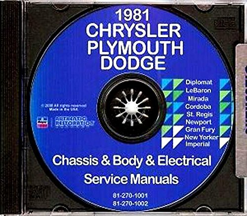 Plymouth Gran Fury Heater - DODGE 1981 Mirada, St Regis & Diplomat + PLYMOUTH Gran Fury Shop Manual CD