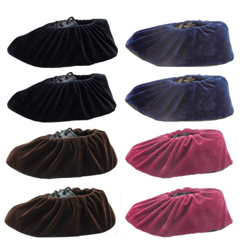 4 Farben, 4 Paar Nuluxi Dicker Wiederverwendbar /Überschuhe Haushalt Waschbare /Überschuhe Anti-Rutsch Hausschuhe /Überschuhe Hochwertigem Flanellstoff Atmungsaktiv Bequem Langlebig und Wiederverwendbar
