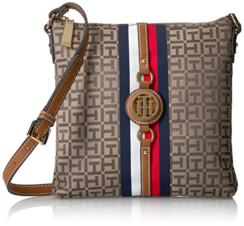Tommy Hilfiger Crossbody Bag for Women Jaden, Tan Dark Chocolate