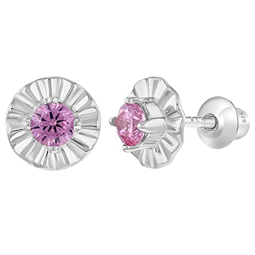ec1486859 Image Unavailable. Image not available for. Color: 925 Sterling Silver Pink CZ  Flower Screw Back Earrings for Infants Baby Girls
