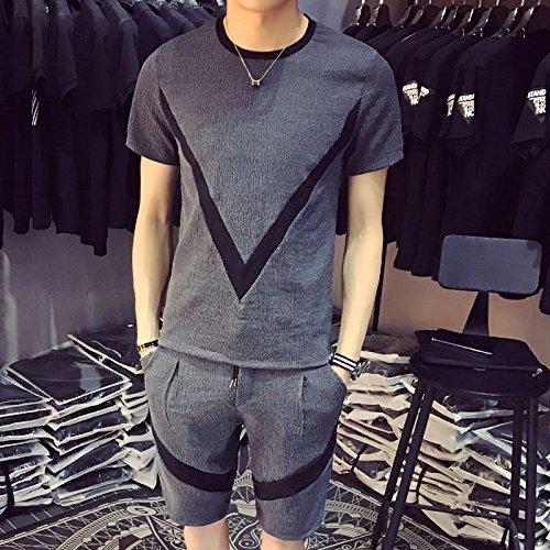 SANMULYH  Männer Kurzärmeliges T-Shirt Freizeit Sport Anzug Einen Satz Kurzärmlige Kleidung Im Frühjahr