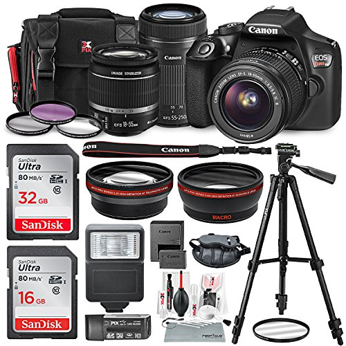 Canon EOS Rebel T6 DSLR Camera Bundle EF-S 18-55mm f/3.5-5.6 IS II Lens, EF-S 55-250mm f/4-5.6 IS STM Lens and Accessories (19 Items) For Sale
