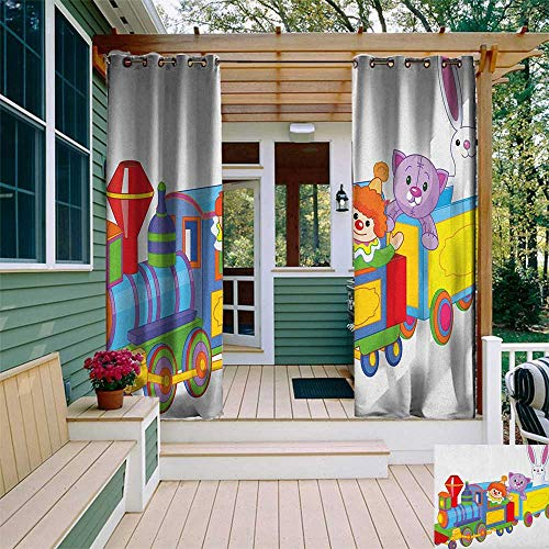 leinuoyi Nursery, Outdoor Curtain of Lights, Clown Cat and Bunny Sitting in The Train Kids Toys Cartoon Style Funny Cheerful, Fabric by The Yard W84 x L96 Inch -