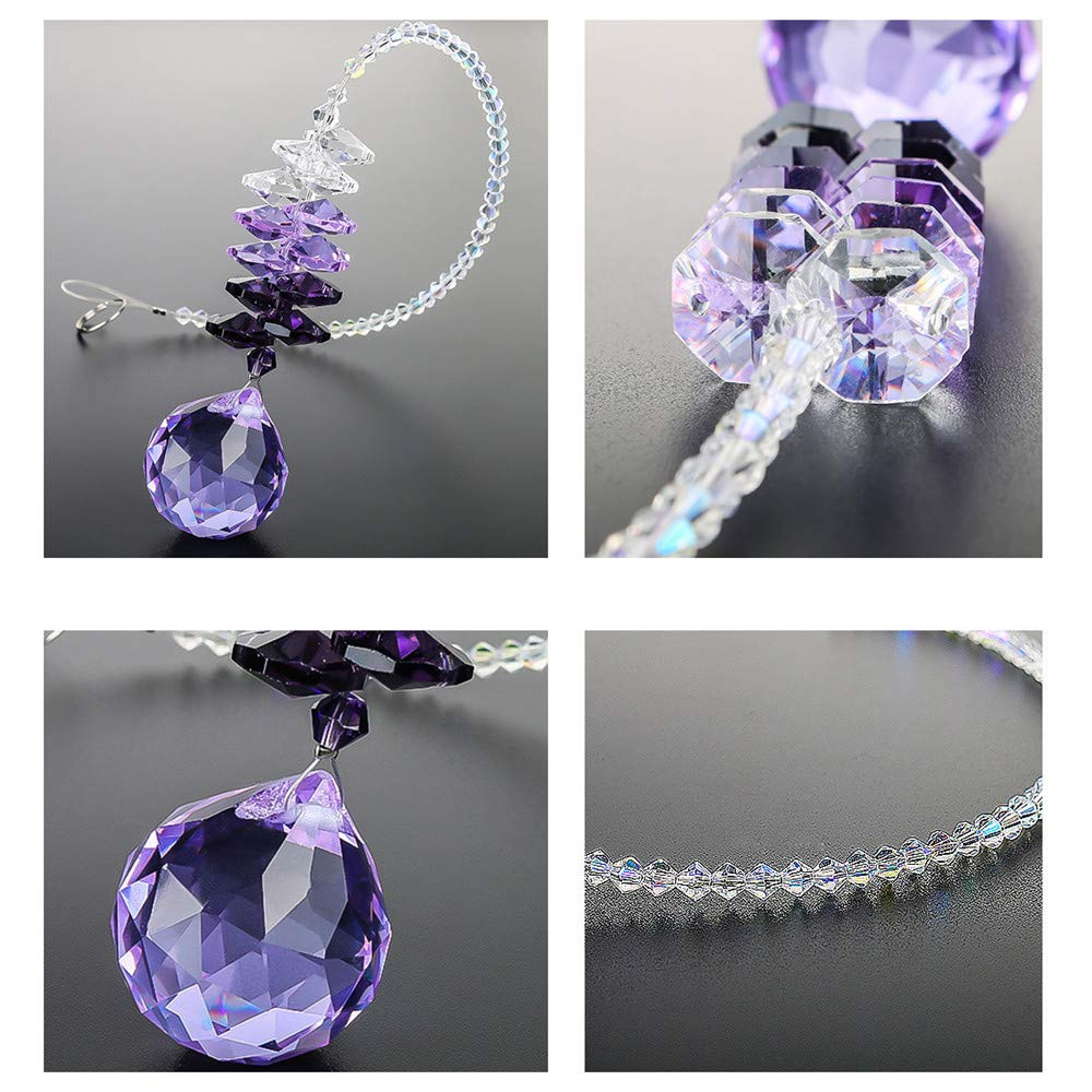 WEISIPU Crystals Ball Prisms Suncatcher Hanging Ornament Chakra Crystals Rainbow Maker Crystal Pendants for Home, Wedding, Garden Decoration(Purple)