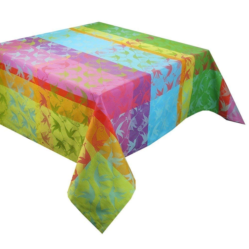 100/% two-ply twisted cotton Garnier Thiebaut Mille Colibris Tablecloth 71 by 98 Made in France 71 by 98 Garnier-Thiebaut 28352 Antilles