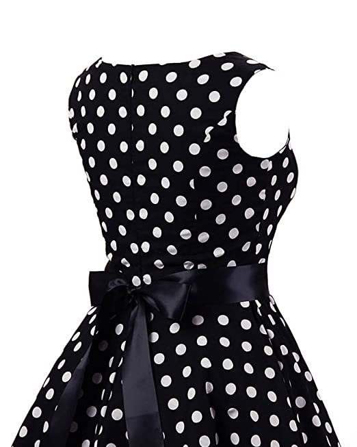 MISSMAO Woman Sleeveless Polka Dots 50s Hepburn Retro Style Slim Printed  Skater Dress: Amazon.co.uk: Clothing