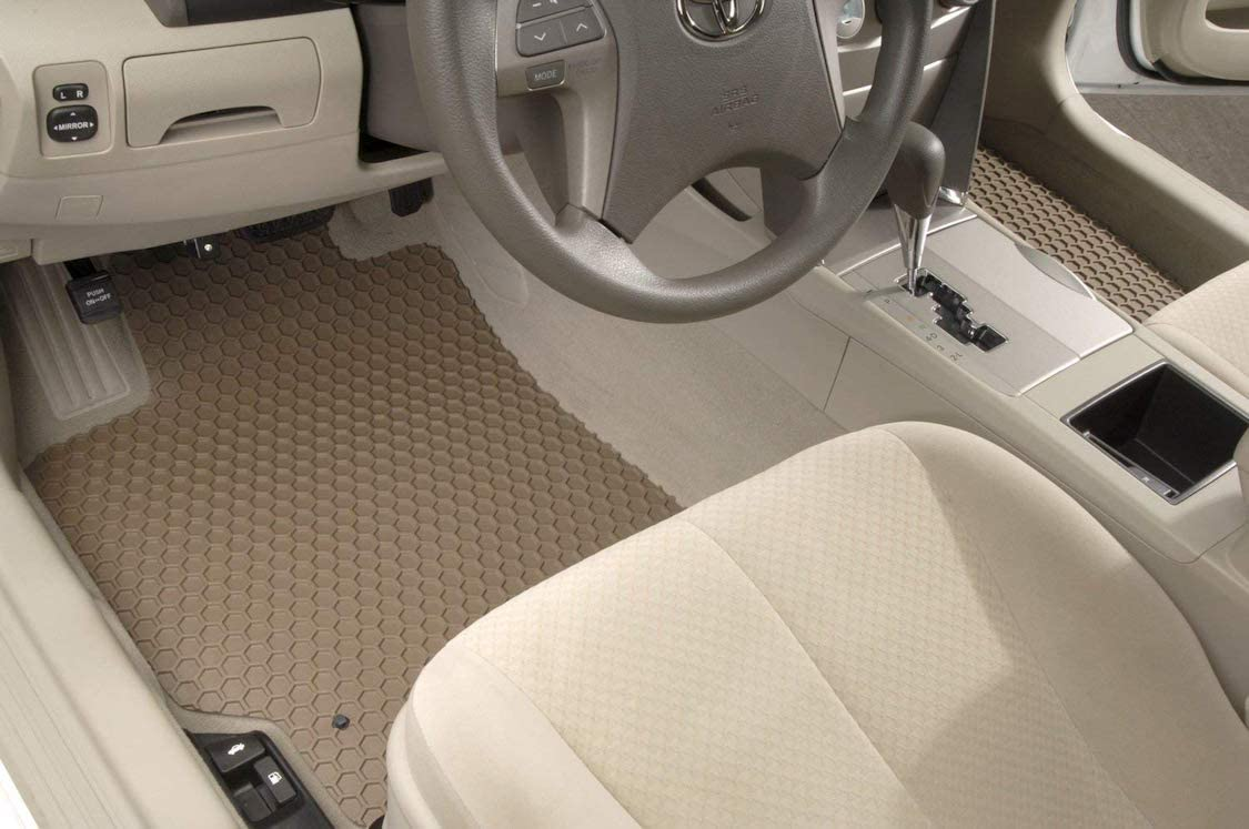 Intro-Tech DD-239R-RT-T Hexomat Second Row 2 pc Rubber-Like Compound Custom Fit Auto Floor Mats for Select Dodge Colt Models Tan