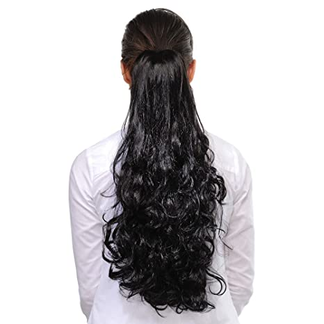 FOK Synthetic Hair Extension Curl Ponytail With Attached Hair Clip Black  Color-20 inches