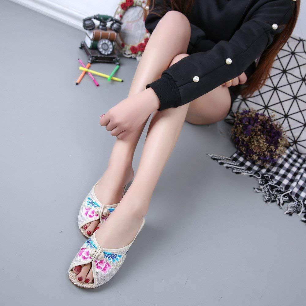 Bestickte Schuhe Sehnensohle ethnischer Stil weiblicher Flip Flop Mode bequem bequem bequem Sandalen Meter weiß 36 (Farbe   - Größe   -) b47efa
