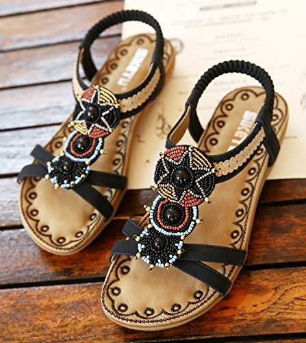 2 D2C Beauty Women's Flat Sandals Rhinestone Thong Beach Black Pwqwv8zxC