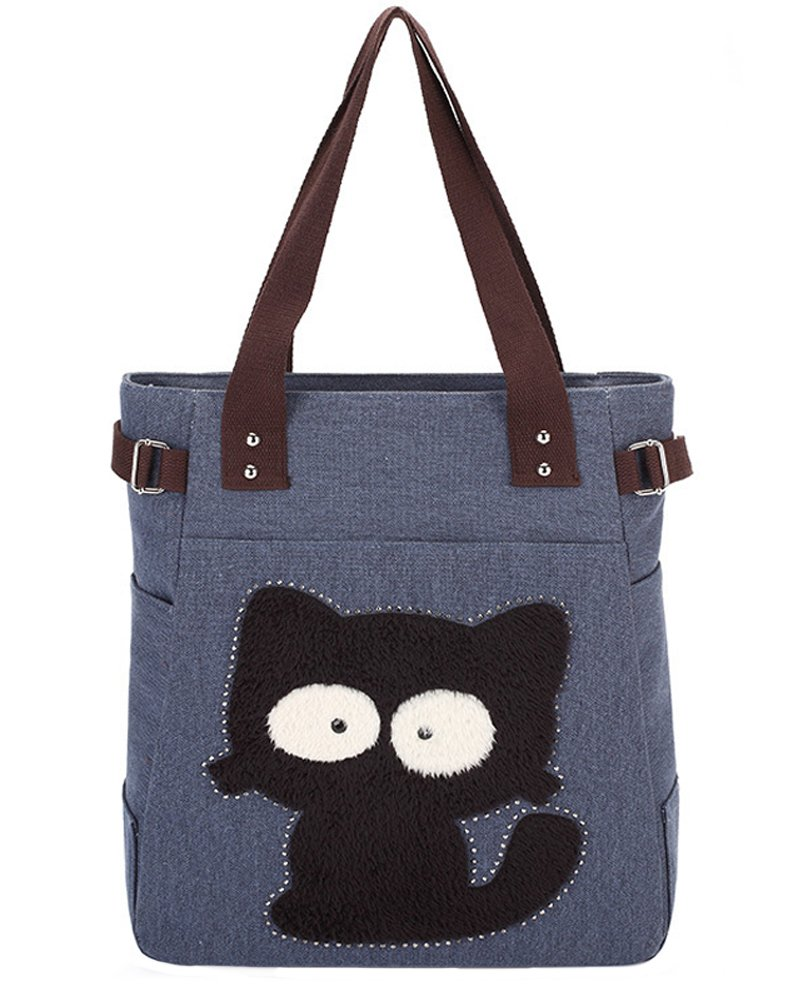 Myosotis510 Cute Big Eyes Cat Canvas Shoulder Tote Bag
