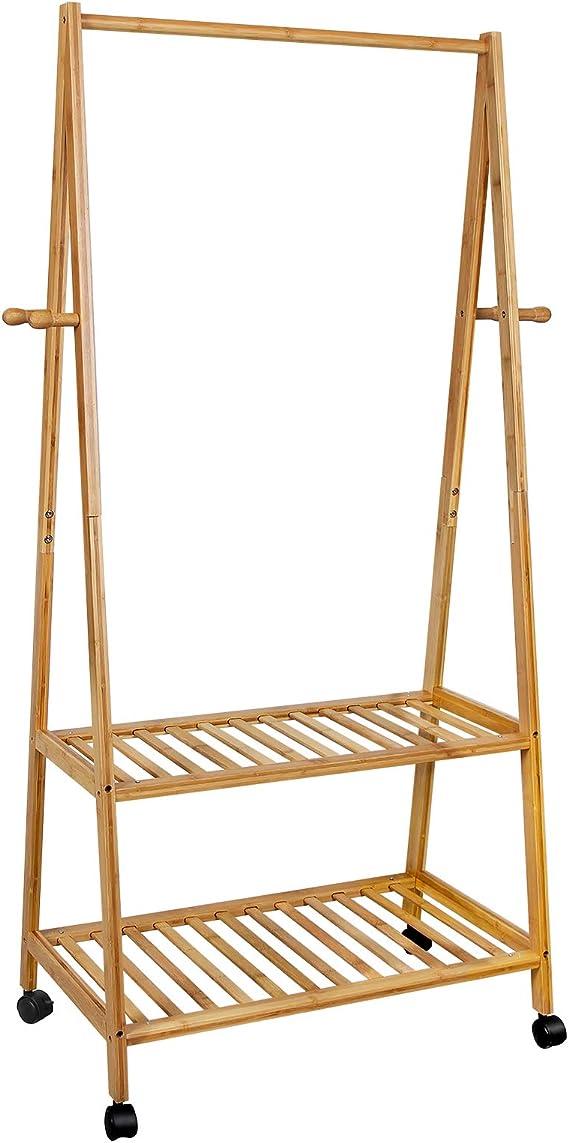 Yorbay Garderobenst/änder Bambus Kleiderst/änder mit Rollen 100 x 38 x 176 cm Natur Baumform mit Kleiderstange 3 Ablagen und 6 Haken