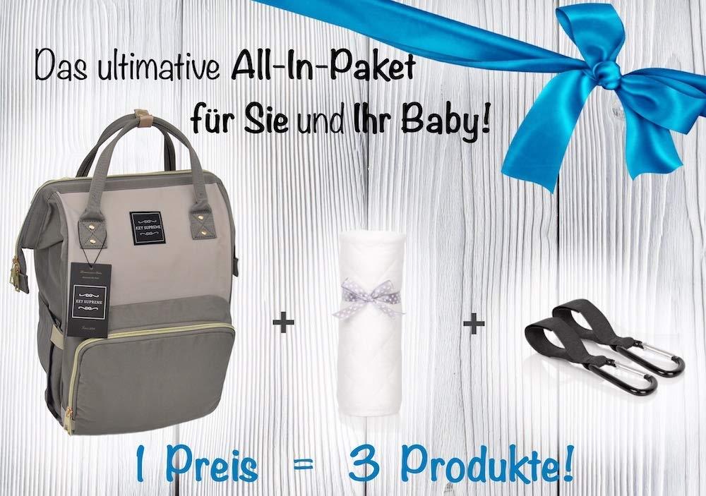 Baby Wickelrucksack mit Geschenkbox 2 Kinderwagen Haken 1 Wickelunterlage f/ür Unterwegs /— Baby Wickeltasche Gro/ß Wasserdicht Multifunktional /— Babytasche f/ür Mama Papa Zwillinge