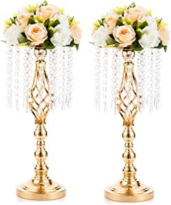 2 Pcs 19.3 inches Gold Centerpieces Table Tall Crystal Flower Stand Wedding Road Lead Tall Flower Holders Centerpiece Crystal Flower Chandelier Metal Flower Vase for Reception Tables Wedding Supplies