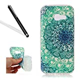 Leecase Pretty Cool Creative Green Jade Flower Painted Soft Flexible TPU Silicone Rubber Skin Bumper Cover Shock-Absorption Stylish Case Cover for Samsung Galaxy A3 2017
