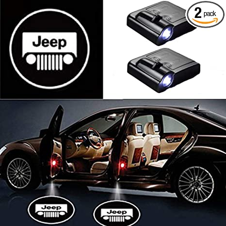 PATRICON 2-Pack Wireless Car Door Led Welcome Light Projector for Jeep Accessory Size 2 No Drill Type Logo Light Ghost Shadow Light Lamp