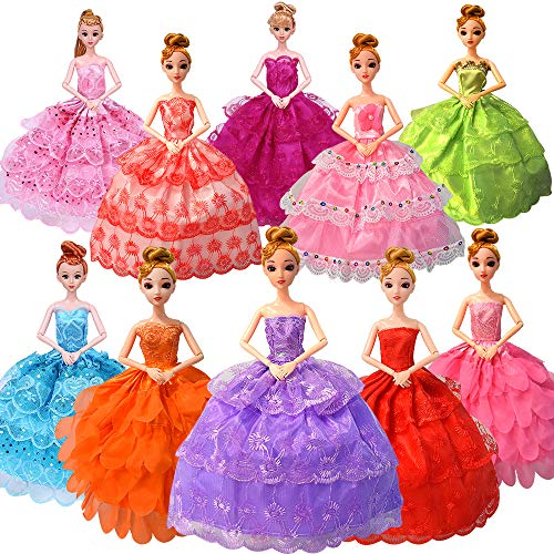 Teen Barbie Costume (Fancy Doll Clothes for Barbie Girls Dolls - 10 PCS Handmade 11.5 Inch Doll Clothes Wedding Dresses Gowns Outfits Costume Party Dress for Girls Kids Party)