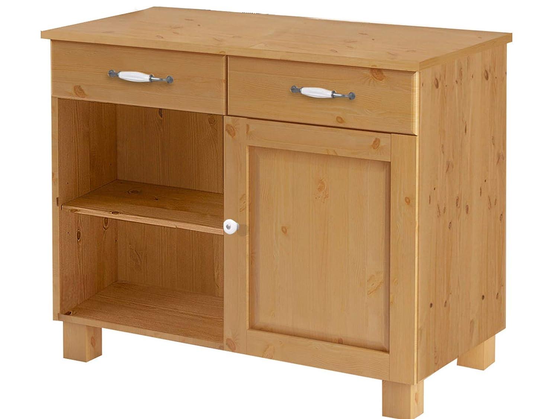 Loft24 Unterschrank Küchenunterschrank Küchenschrank Landhaus Küche Schrank Kiefer massiv 100 x 50 x 85 cm, 2 Schubladen gebeizt geölt