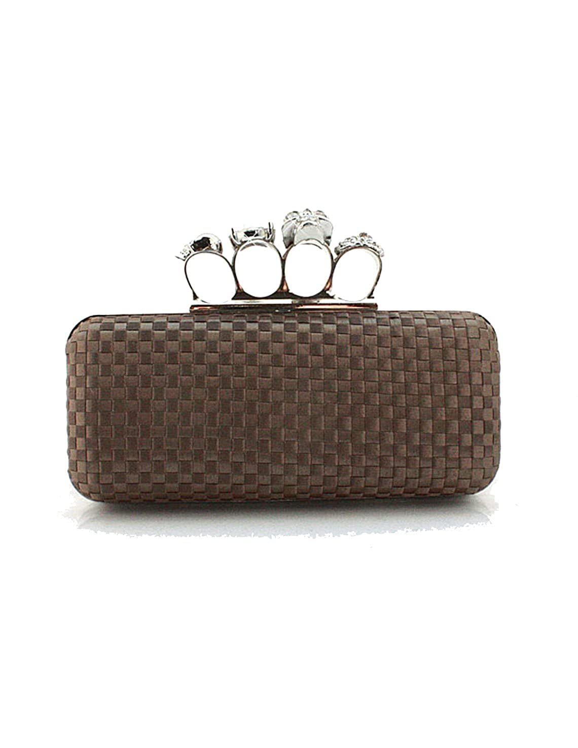 Beautiful Brown Silk Knuckle Duster Design Box Clutch Bag