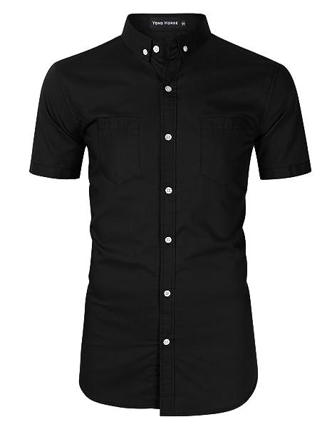 50610c369d31 Yong Horse Men s Cotton Slim Fit 2 Pockets Short Sleeve Button Down Shirts (Black  Short