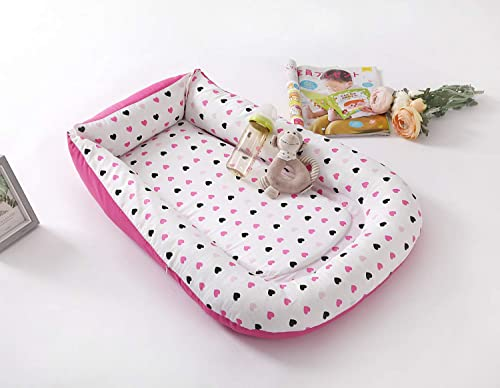 Portable Infant Lounger Bassinet Nest Bed Co-Sleeping Baby Reversible Heart Print Solid Pink