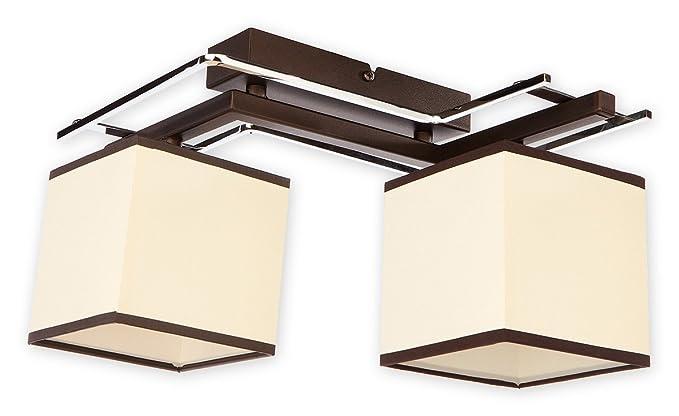 Elegante lámpara de techo de wengué Beige Bauhaus design 2 x ...