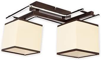 Elegante lámpara de techo de wengué Beige Bauhaus design 2 x E27 60 W 230 V (hasta acero & Tela pasillo salón comedor lámparas luz iluminación de interior: Amazon.es: Iluminación